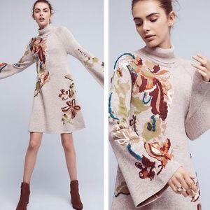 ANTHRO KNITTED&KNOTTED Embroidered Petals Dress
